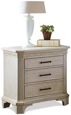 Riverside Furniture Aberdeen 3 Drawer Nightstand with Electric Outlet Bar