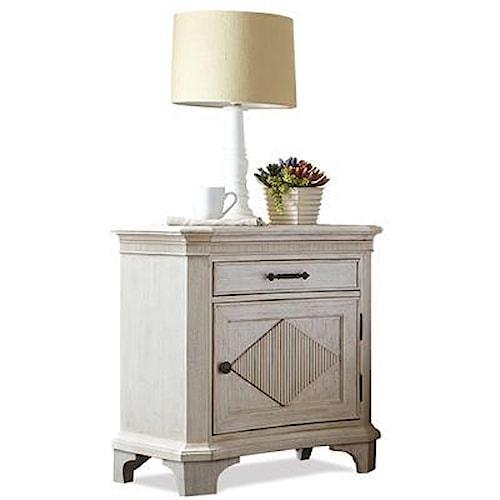 Riverside Furniture Aberdeen Door Nightstand with Reeded Diamond Overlay