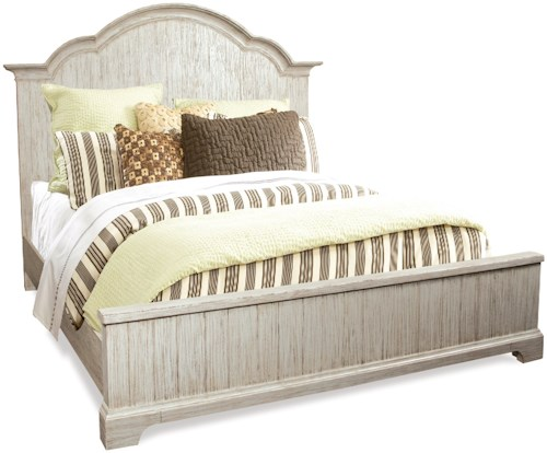 Riverside Furniture Aberdeen King Panel Bed in Weathered Worn White Finish