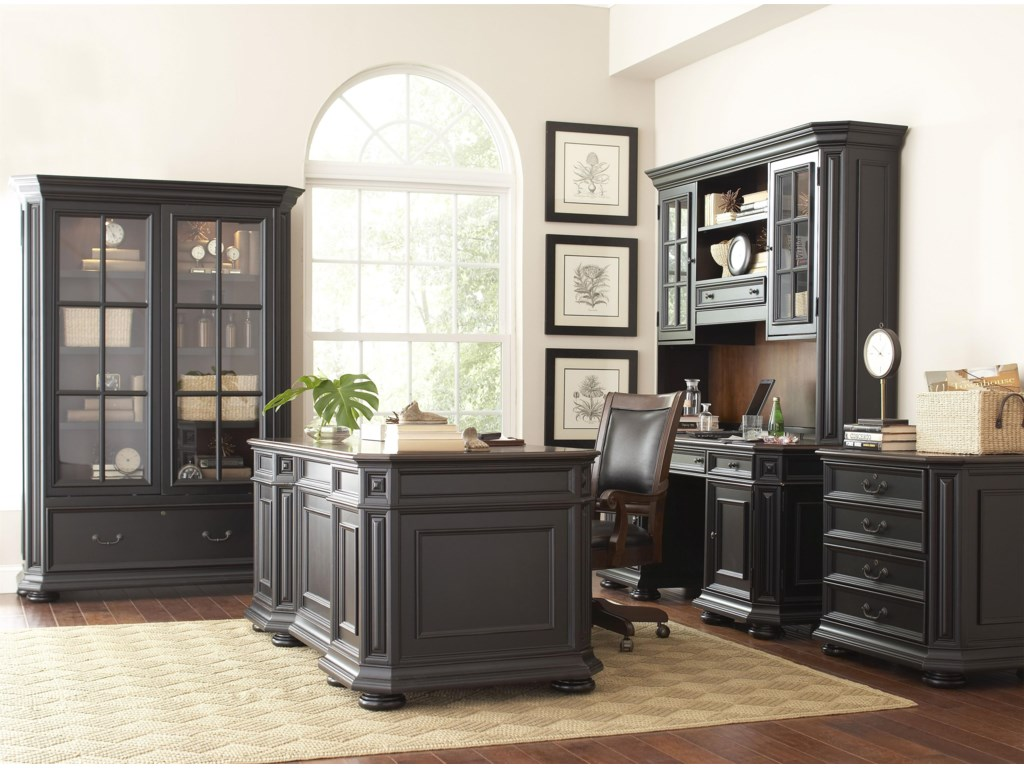 Shown with Coordinating Credenza and Hutch, Desk, and Sliding Bookcase.