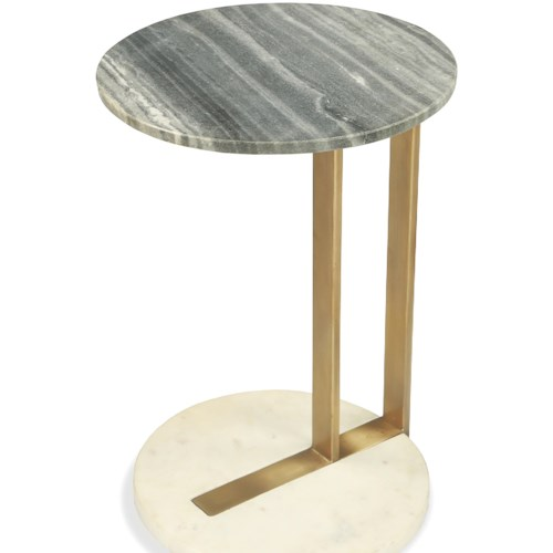 Riverside Furniture Austin Round Side Table with Marble Top and Base
