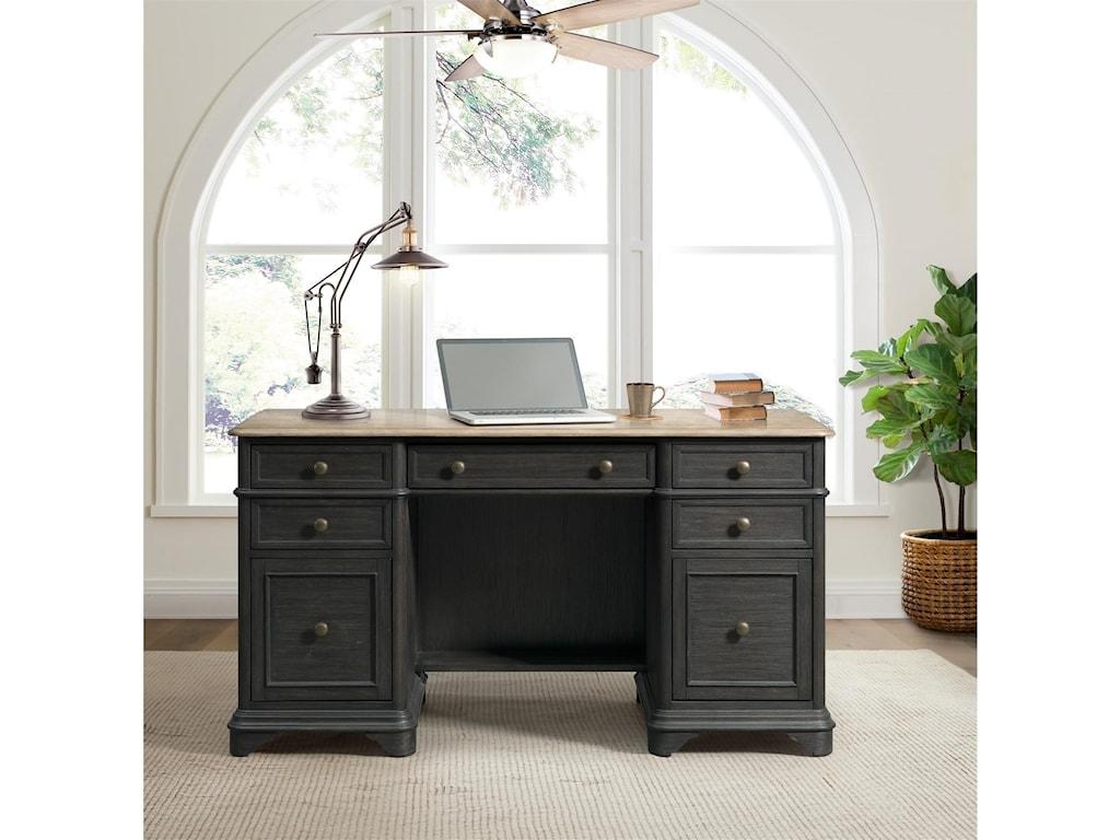 Riverside Furniture Barrington Two ToneDouble Pedestal Desk