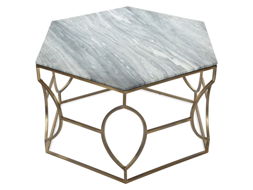 Riverside Furniture Barron Hexagon Coffee Table With Marble Top - Hexagon cocktail table