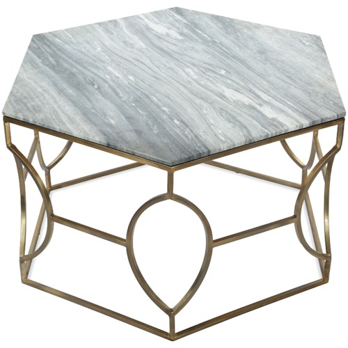 Riverside Furniture Barron Hexagon Coffee Table with Marble Top