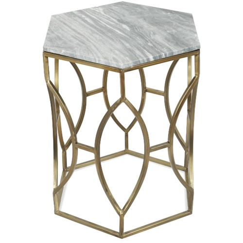 Riverside Furniture Barron Hexagon Side Table with Marble Top