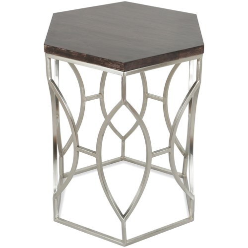 Riverside Furniture Barron Hexagon Side Table with French Roast Wood Top