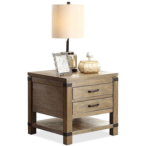 Riverside Furniture Bay Cliff Rectangular 2 Drawer End Table with 1 Shelf