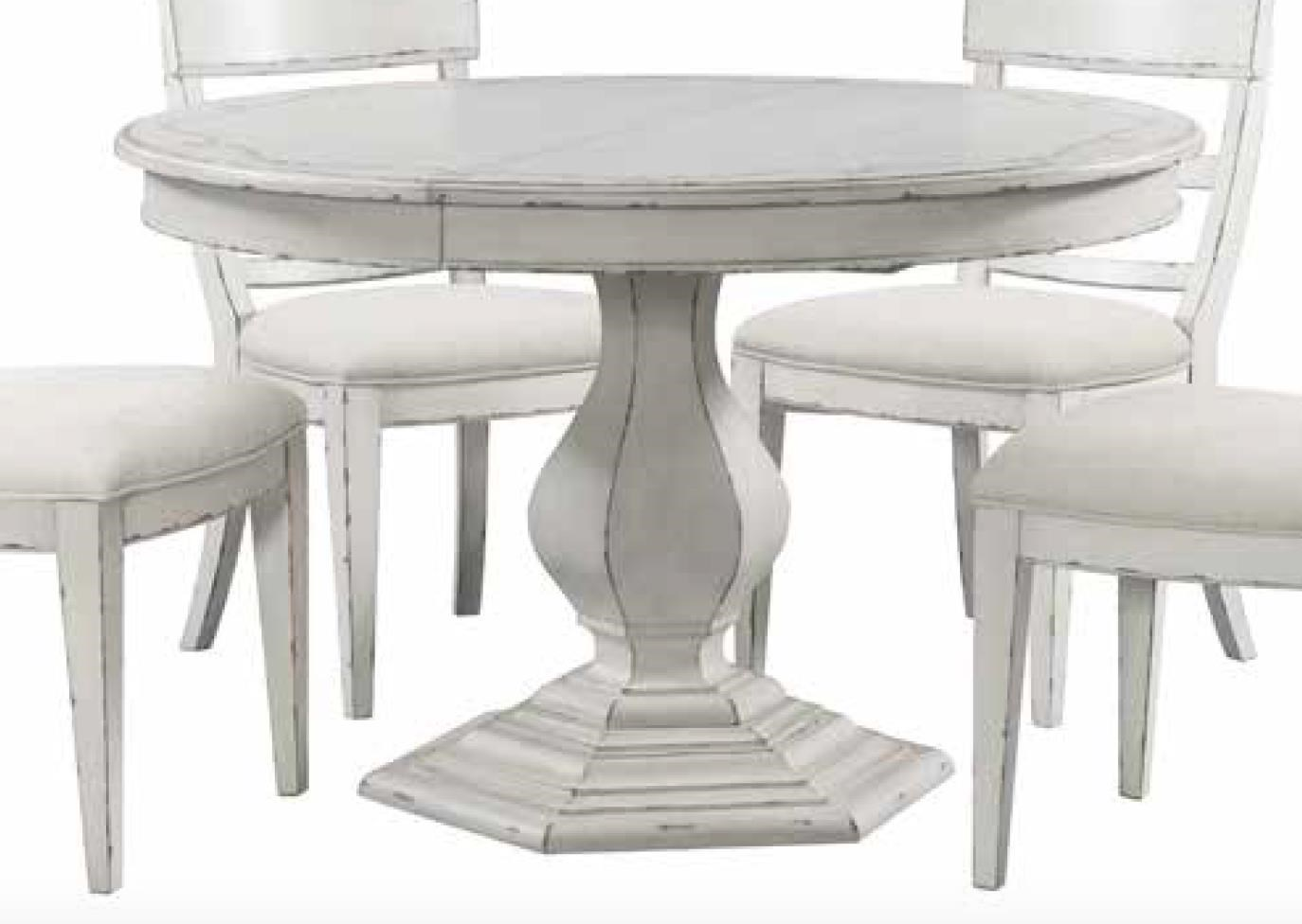 Picture of: Riverside Furniture Bella Grigio Round Dining Table With Stencil Top Reeds Furniture Kitchen Tables
