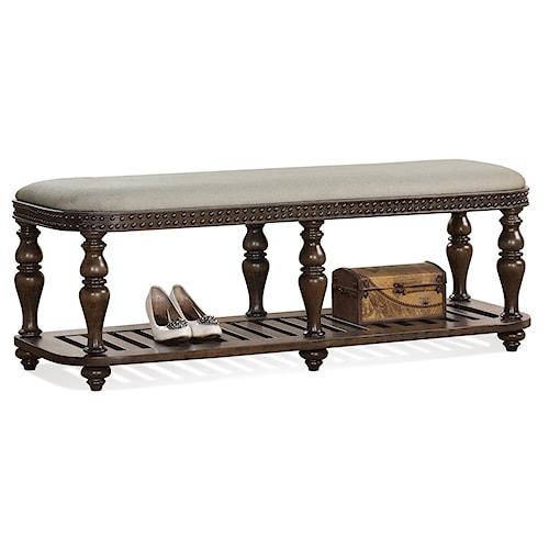 Riverside Furniture Belmeade Upholstered Bed Bench w/ Slatted Shelf
