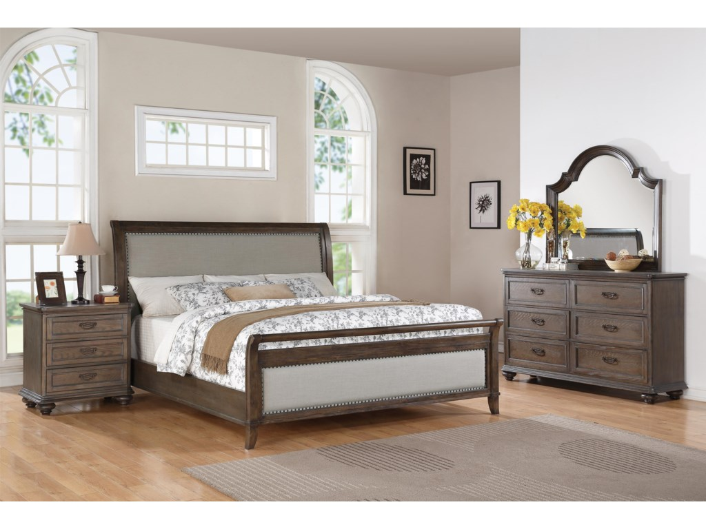 Riverside Furniture BelmeadeKing Sleigh Upholstered Bed