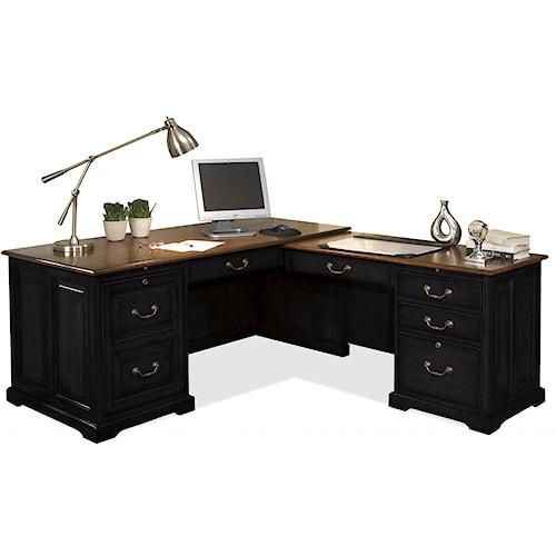 Riverside Furniture Bridgeport L-Shaped Computer Workstation Desk ...