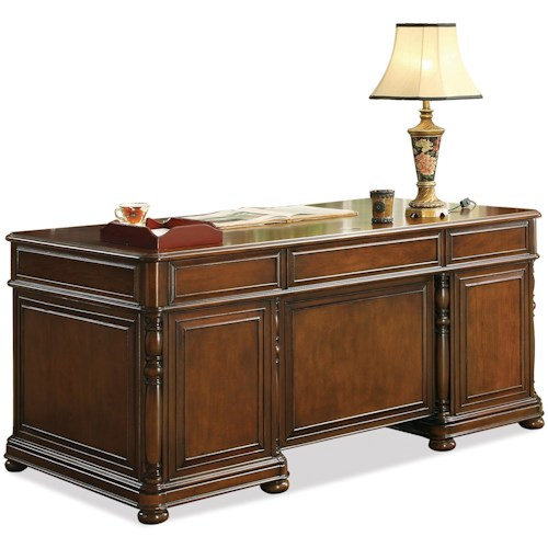 Riverside Furniture Bristol Court Cognac Cherry Finished Rectangular Executive Desk