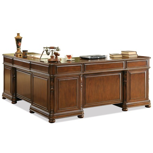 Riverside Furniture Bristol Court Large Cherry L Desk and Return
