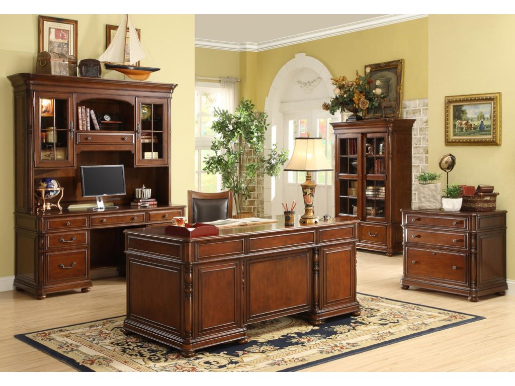 Shown with Executive Desk, Computer Credenza and Crutch and Sliding Door Bookcase