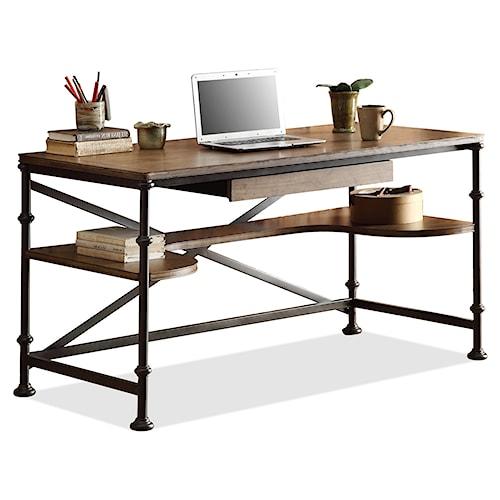 Riverside Furniture Camden Town Rectangular Writing Desk with Lower Shelving