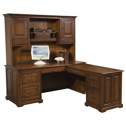 Riverside Furniture Cantata Traditional L Computer Workstation and Hutch