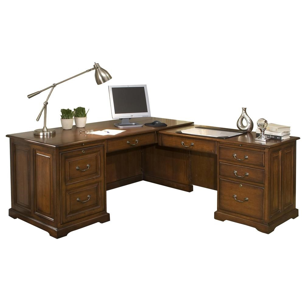 Riverside Furniture Cantata Traditional L Computer Workstation | Belfort  Furniture | L Shape Desk
