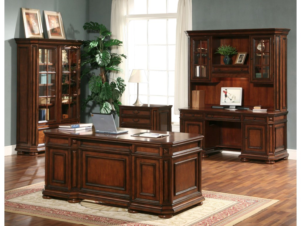 Shown with Double Pedestal Desk, Credenza and Hutch