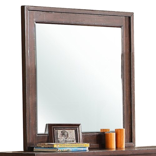 Riverside Furniture Castlewood Landscape Mirror with Beveled Edge and Wooden Frame