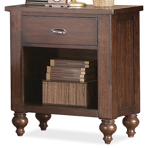 Riverside Furniture Castlewood 1-Drawer Night Stand with Open Bottom Section