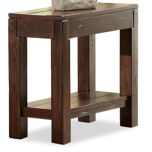 Riverside Furniture Castlewood Chairside Table with Fixed Lower Shelf and Block Legs