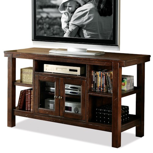 Riverside Furniture Castlewood Console with Wire Access and 2 Beveled-Glass Doors