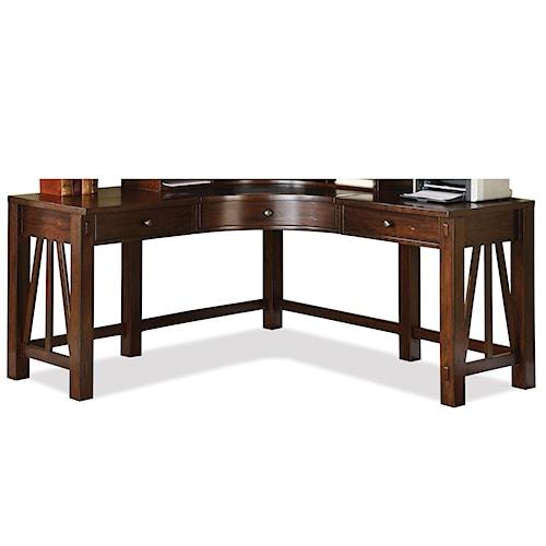 Riverside Furniture Castlewood Curved Corner Desk with 3 Drawers