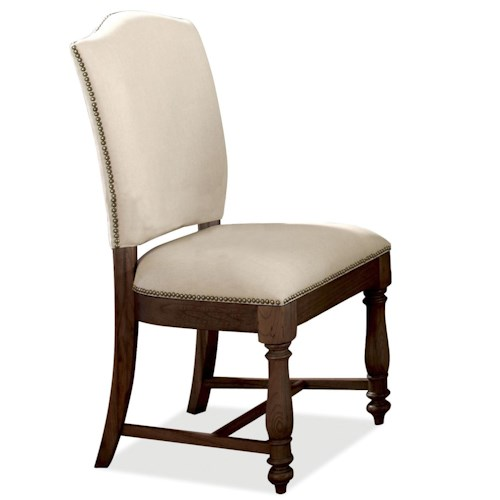 Riverside Furniture Castlewood Upholstered Dining Side Chair with Nailhead Trim and Wooden Base