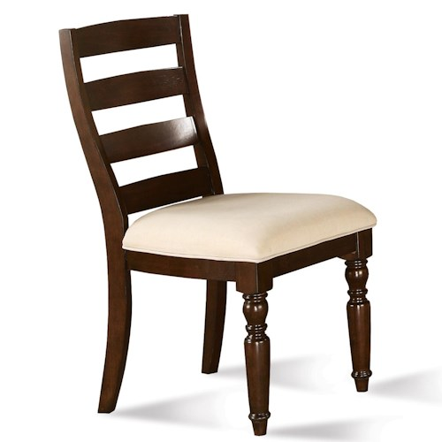 Riverside Furniture Castlewood Ladder Back Dining Chair with Turned Front Legs and Upholstered Seat