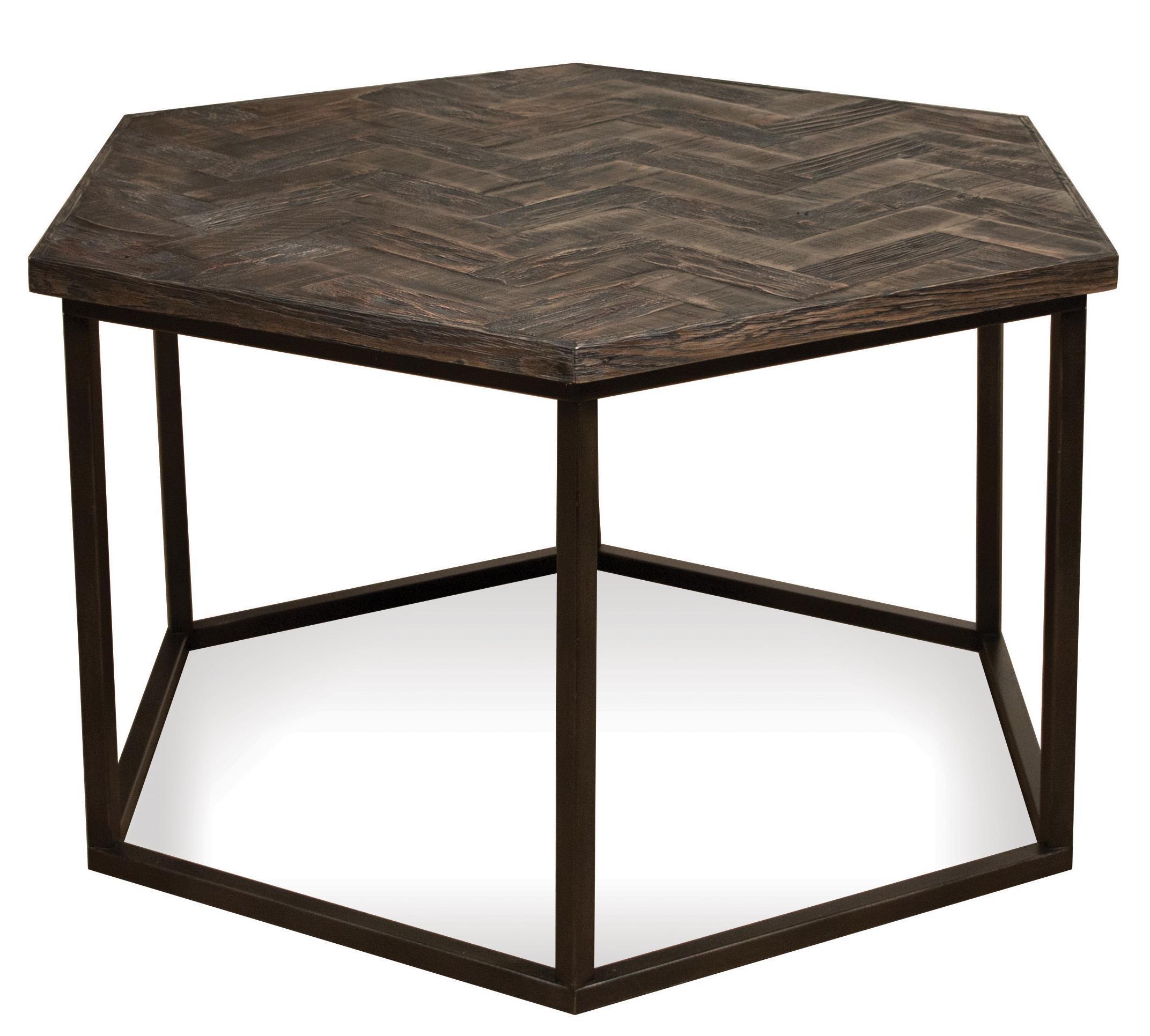 Riverside Furniture Chevron Hexagon Coffee Table W/ Metal Base