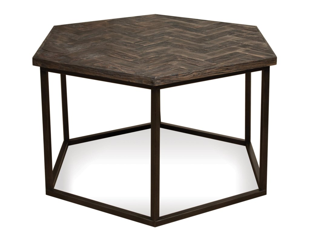 Riverside furniture chevron hexagon coffee table w metal base riverside furniture chevron hexagon coffee table w metal base dunk bright furniture cocktailcoffee tables geotapseo Images