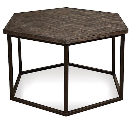 Riverside Furniture Chevron Hexagon Coffee Table W Metal Base - Hexagon cocktail table