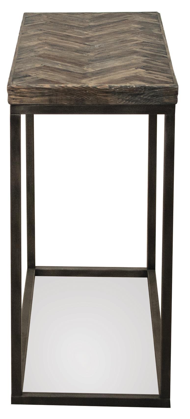 Riverside Furniture Chevron Narrow Chairside Table W/ Metal Base