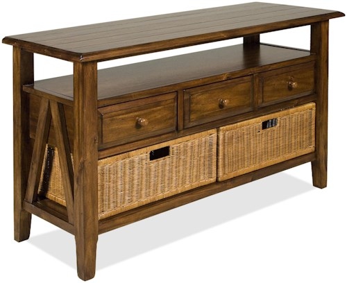 Riverside Furniture Claremont  3 Drawer Console Table with Storage Baskets