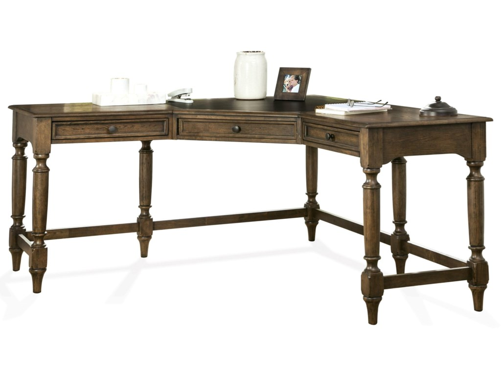 ad9ef6b694d Riverside Furniture Cordero Traditional Corner Desk with Turned Legs ...