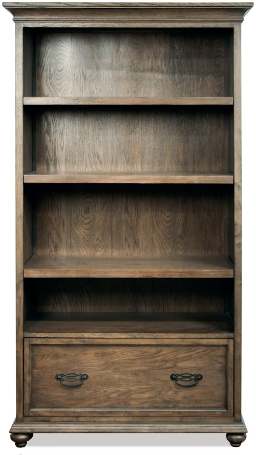 Riverside Furniture Cordero 3 Shelf Bookcase in Aged Oak Finish