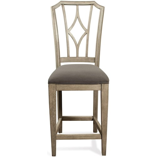Riverside Furniture Corinne Upholstered Diamond Back Counter Stool