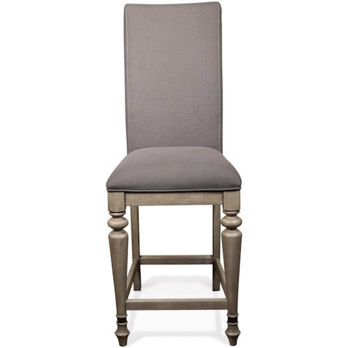 Riverside Furniture Corinne Upholstered Counter Stool with Front Turned Legs