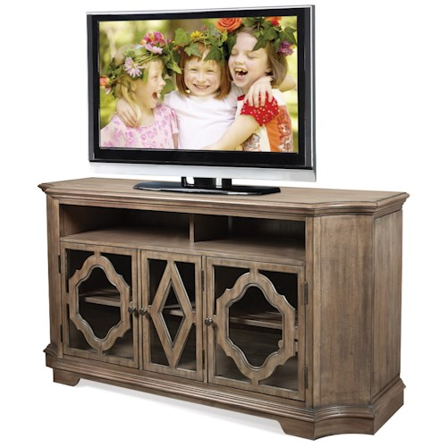 Riverside Furniture Corinne TV Console with Decorative Wood Motif Overlays