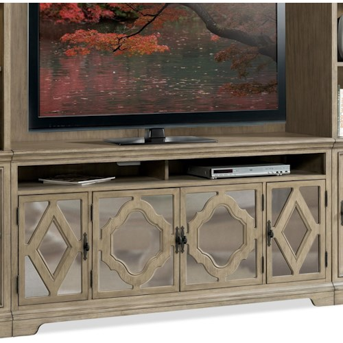 Riverside Furniture Corinne 4 Door Entertainment Console in Sun-Drenched Acacia Finish