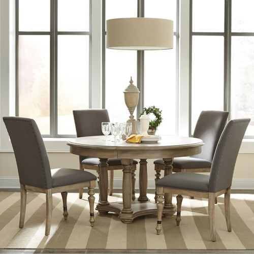 Riverside Furniture Corinne 5 Piece Round Table and Upholstered Chair Set