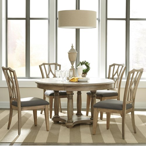 Riverside Furniture Corinne 5 Piece Round Table and Diamond Back Chair Set