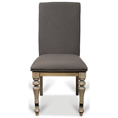 Riverside Furniture Corinne Upholstered Side Chair with Front Turned Legs