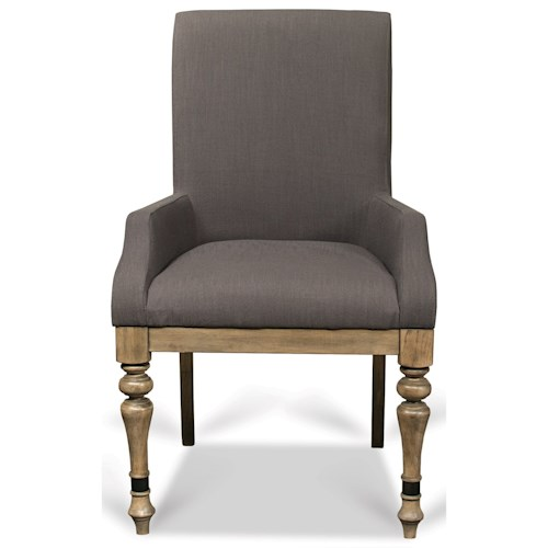 Riverside Furniture Corinne Upholstered Arm Chair with Front Turned Legs