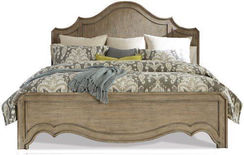 Riverside Furniture Corinne Queen Curved Panel Bed in Sun-Drenched Acacia Finish