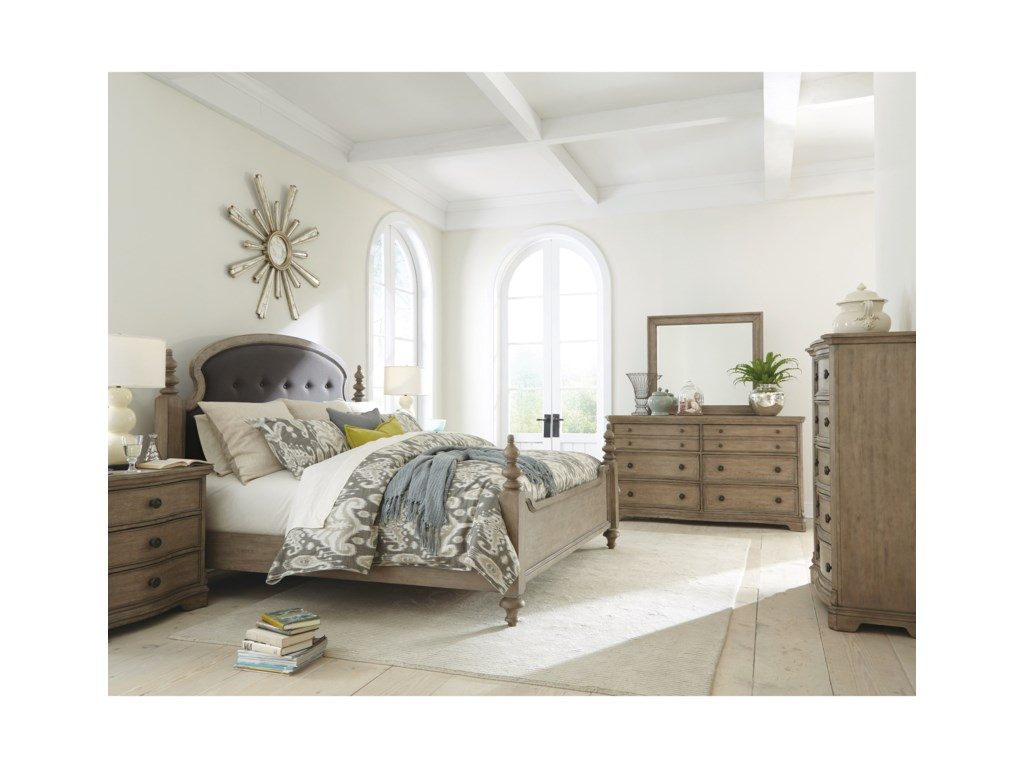 Riverside Furniture CorinneKing Upholstered Poster Bed