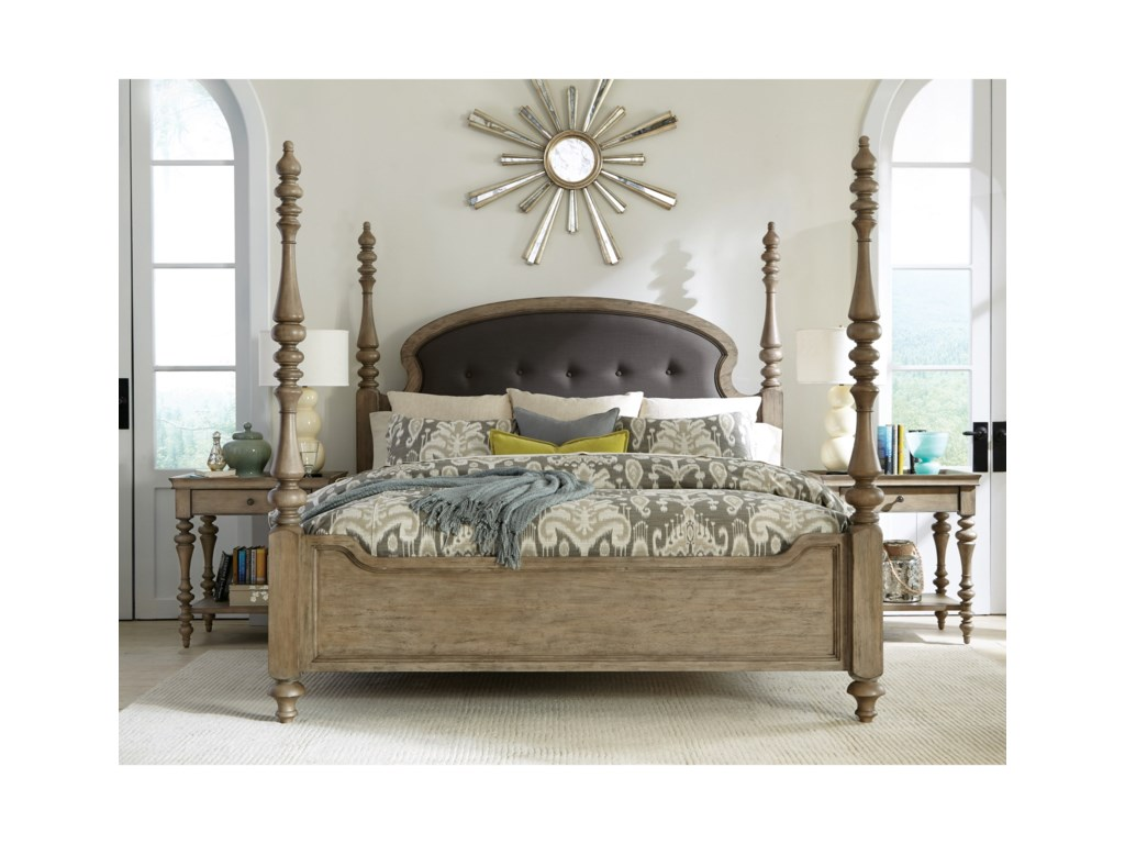 Riverside Furniture CorinneQueen Upholstered Poster Bed