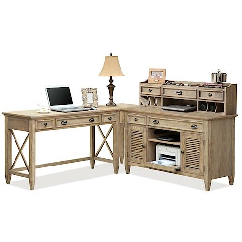 Riverside Furniture Coventry Corner Writing Desk & Credenza with Hutch