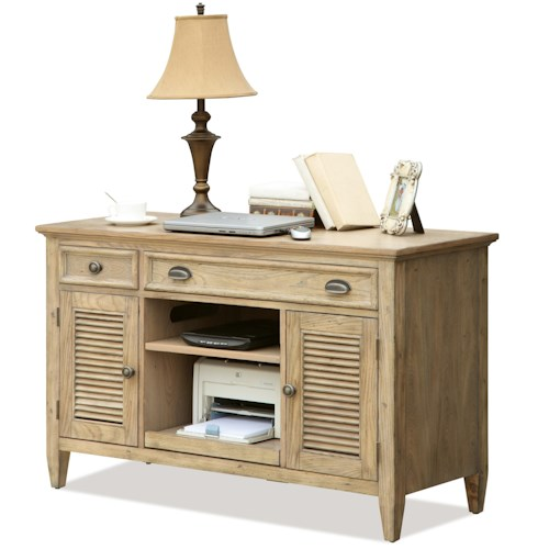 Riverside Furniture Coventry Shutter Door Credenza Desk with 2 Drawers