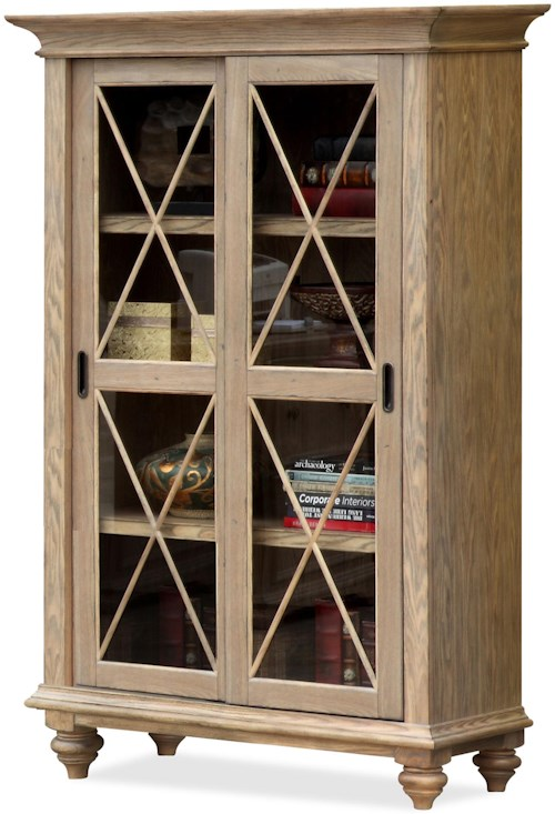 Riverside Furniture Coventry Sliding Door Bookcase with 4 Shelves